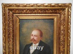 Painting Old Painting 19 Century Portrait Bust Mustachioed Man