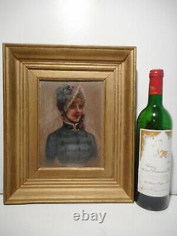 Painting Old Painting 19 Century Portrait Bust Young Woman Suit Hat