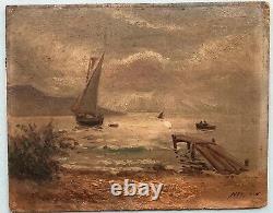 Painting Painting By Emile Louis Julien Nerlot (1865-1943) Landscape Sailor Boats