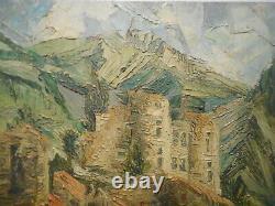 Painting Painting Erminio Viola Landscape Castle Strong Village Top Mountain