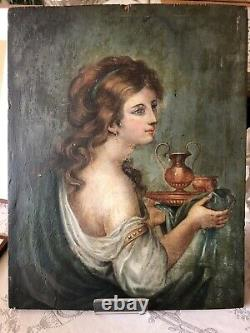 Painting Servant Late 18th Debut 19th To Restaurer