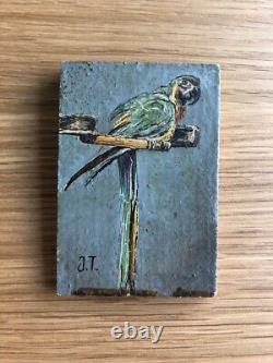 Painting Signed Table Old Oil, Parrot, Bird,