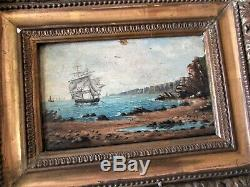Painting Table Navy Ship Ship, Oil On Wood Xixth Gold Frame