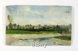 Painting Table Old Oil, Landscape Marine, Trouville, Low Tide