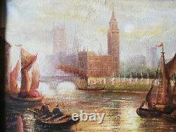 Painting View Of Venice's Lively Seascape Oil On Framed Canvas Signed