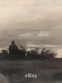 Paintings Old Frame 19th Nineteenth Pley Grisaille Landscape Realism Rare