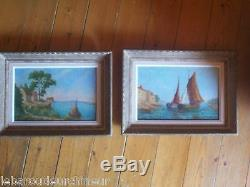 Pair Of Marine Oil Thick Paste Provence Mediterranean Seascape Signed