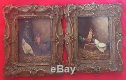 Pair Of Oil Tables On Cardboard Low-court Pans Frame Rocheille Xixeme
