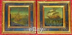 Pair Of Paintings Theme From Marin. Oil On Wood. Spain. Xix-xx Century