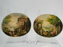 Pair Of Small Italy Italian Pannels Purpose 19th Miniature Tables