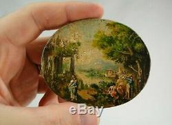Pair Of Small Signs Painted Oval Italian Miniature Paintings Debut XIX