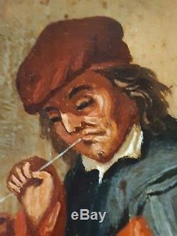 Pair Old Paintings Oil On Wood Flemish School Scenes Of Tavern Eighteenth