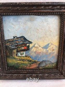 Pair Painting Ancient Oil On Panel View Mountain Signed + Frame Vintage Wood