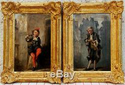 Pair Paintings Wood Dore Oil On Wood Dlgt Gavarni