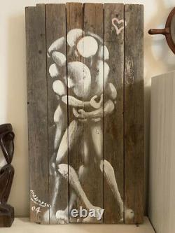 Palissade Jérôme Mesnager. Couple. Painting On Wood. Signed And Dated 2004