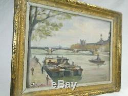 Paris Louvre Seen From The Seine Pont Du Carrousel Oil / P Landscape Table