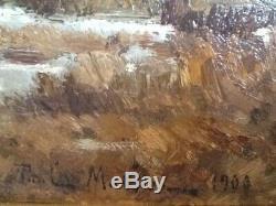 Paul Mathieu Ecole Belge 1900 Beautiful Table Hsp Landscape Painting Landscape