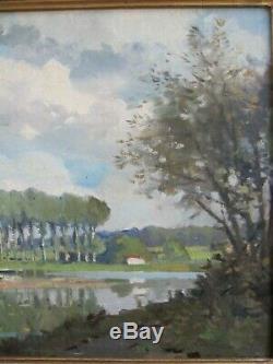 Paul Morchain 1876/1939 Background Landscape Estuary Britain Hsb 46 X 38 CM