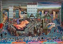 Pierre Guillaud Oil On Canvas Signed, Dated Paris Naive Surrealist Art Art