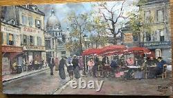 Pierre Saez Painting On Wood Place Du Tertre -église St Pierre De Montmartre