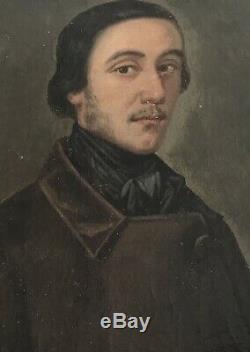 Portrait Bust Dhomme Oil Painting On Wood Wooden Frame Golden Century XIX Éme