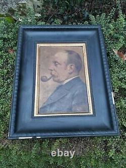 Portrait Man Oil/wood Profile End XIX Debut XX Signature Eugene Chaignet 1860