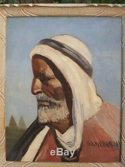 Portrait Of A Man. Orientalist Painting Nandor Vagh-weinmann (1897-1978)
