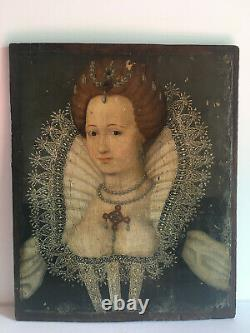 Portrait Of Elisabeth I, Queen Of England, Oil On Panel, 17th, 18th, 19th