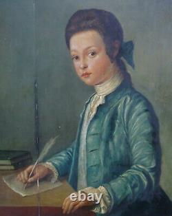 Portrait Of Young Gentleman In Writing 18th Century Oil On Wood