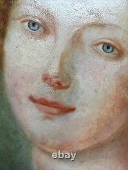 Portrait Of Young Woman Oil On Wood