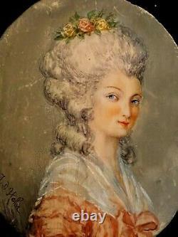 Portrait & Painting & Miniature & Ancient & Elegant & In The Spirit Of The XVIII E