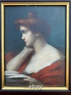 Portrait Style Jean-jacques Henner Oil On Wood Panel 19th (unsigned)