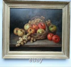 Raisins And Pommes In A Basket Oil Signed Gauthier Circa 1950 Frame Wood