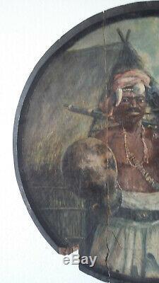 Rakotovao Gaston (1882-1941) Oil On Panel Malagasy Madagascar Warrior