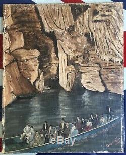 Rare Painting Chasm Padirac Lot Devanlay Popular Art Naïve Brut Outsider