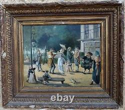 Rare Peinture 19th. Incroyable & Merveillous In A Park Under The Directory
