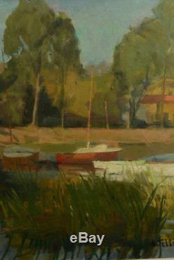 Raymond Tellier Beautiful Table Edge Of Animated River Boat Landscape Douai Rare