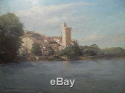 Rémy Landeau Oil On Panel, Philippe Le Bel Tower Villeneuve-les-avignons