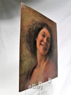 Roux-abougit (ec Lyonnaise) Beautiful Portrait Of Woman Ca 1930 H / P Art Deco Smile