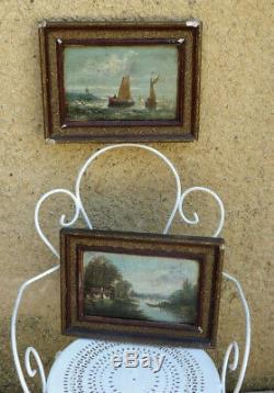 Salamon Nineteenth. 2 Paintings For. Ships At Sea & Landscape Barbizon