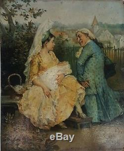 Scene Preschool. Oil On Panel. J. Rosch Sign. Europe. Nineteenth Century