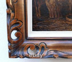 School Charles Emile Jacque Barbizon Sheep Old Table Painting Frame