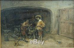 School French Or Dutch Nineteenth Century. Man And Blacksmith Oil On Panel