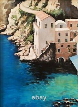 Sea Of Sorrento Naples Coastal Marine Landscape Italian Oil Painting Signed