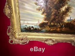 Seascape Oil On The Late Nineteenth Superb Gilt Wood Frame