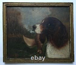 Signed Old Painting, Hunting Dog, Oil On Panel, Late 19th Or Early 20th Century