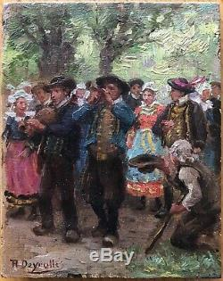 Small Painting Oil Painting Theophile Deroylle Bretonne Brittany 1900