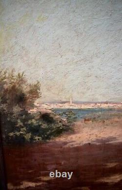 South Marine Landscape Village To Identify XIX XX Orientalist Impressionist