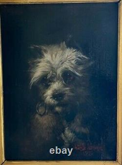 Sublime Oil On Canvas From The 19th Portrait Of A Dog By Walter Biddlecombe