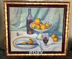Sublime Oil On Canvas Large Format, Still Life With Khaki